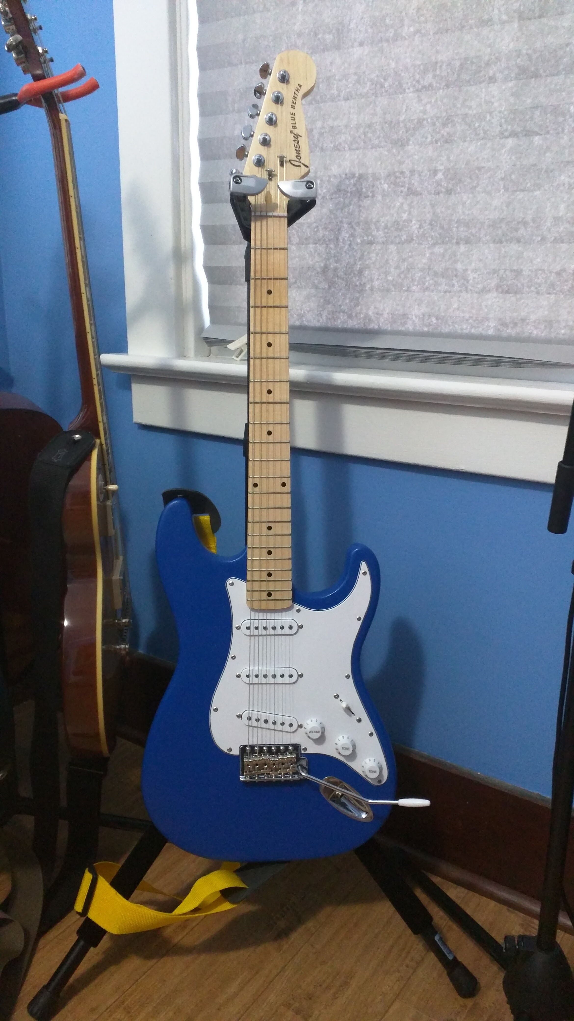 Jonesy Blue Bertha My First Partscaster Electric Guitar Build Fender Stratocaster 5way Wiring Kit Crl Switch Cts Pots